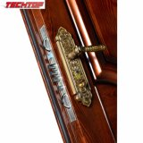 Porte en bois en métal TPS-069 et glace découpées extérieures, modèles en bois extérieurs de porte de la Turquie