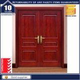 Porte de panneau de teck double de modèle en bois solide en bois de porte principale