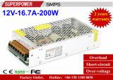 alimentazione elettrica di commutazione di video di obbligazione di 12V 16.7A 200W
