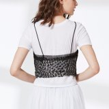 Ladies Two Pieces Set T-Shirt avec Lingerie Sequin Condole Belt Vest Blouse