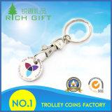 Chaveiros populares de moedas de trole de supermercado com logotipo personalizado