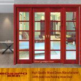 Porte coulissante en bois en verre Tempered de porte française (GSP3-008)