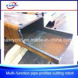 StahlConstrction Stahlrohr-Gefäß CNC-Plasma-Flamme-Ausschnitt-Loch-abschrägenkerbende Maschine