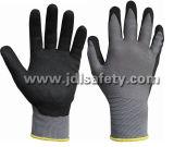 Серым перчатка связанная нейлоном работая при покрынный нитрил песка (N1558)