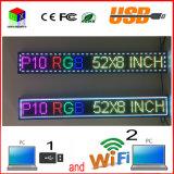O computador ao ar livre WiFi do USB da cor P10 cheia edita para o indicador de diodo emissor de luz 132X20mm dos media de anúncio