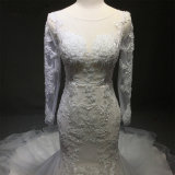セクシーなアイボリーのレースの長い袖のサイズ浜の花嫁衣装と背部が開いたボヘミアのウェディングドレスの夏裁判所のトレインの流れのシフォン