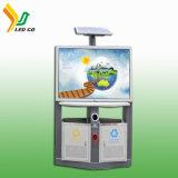 Panneau-réclame solaire de projecteur de la fabrication DEL avec le coffre de détritus