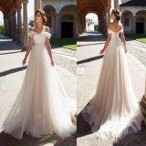 Ein Schulter-Strand-Brautkleider A - Zeile Tulle-Hochzeits-Kleid H173906