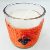 Decorazione di vetro libera di natale della tazza con la corda della rafia