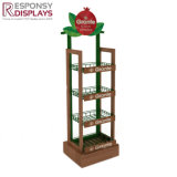 Customized Floor Beer Bottle Shelf Wood Wine Display Stand