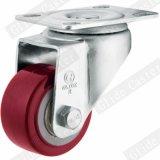 배정밀도 볼베어링 (G2202)를 가진 빨간 폴리우레탄 평면 바퀴 산업 피마자
