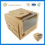 Caixa de bolo de empacotamento de papel com o suporte para a galdéria