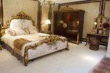 Italien-königliche klassische Art mit Hand geschnitzter goldener Farbanstrich-Bett-Raum-Ansammlung