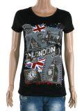 T-shirts ronds de noir de plaine d'impression d'écran de collet de femmes (ELTWTJ-385)