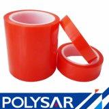 205 micrones de mascota de la base de disolvente de cinta de doble cara con la película rojo