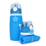 Freies Beispielwasserundurchlässige bewegliche Pressung-zusammenklappbare Silikon-Wasser-Flasche 550ml