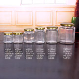 45ml 400 ml Jar hexagonale en verre transparent en pots de verre avec bouchon brillant