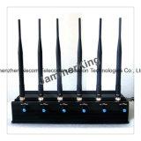 Wireless 6 Bandas Jammer, GSM, GPS, bloqueador de agarrotamiento de la señal de móvil, GPS, Lojack Wimax 4G Phone Jammer señal de Antena 6