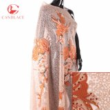 Tessuto africano del merletto di Tulle di colore rosa del tessuto del merletto della Nigeria Tulle di alta qualità per il vestito da cerimonia nuziale