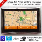 """Venda a quente 4.3"""" Carro elevador Marine navegação GPS com navegador GPS de Wince 6.0, transmissor FM, AV-na câmara traseira, Bluetooth, sistema de navegação GPS portátil, a TMC"""