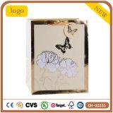 De witte Zak van het Document van de Gift van de Opslag van de Kleding van de Manier van Bloemen en van Vlinders