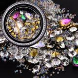 Kleurrijk schitter Shell van het Metaal van de Gemmen van de Charmes van de Bergkristallen van Parels de Holle Decoratie van de Kunst van de Spijker van de Nagels DIY van de Klinknagel van de Vlok 3D (nr-15)