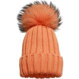 暖かい冬によって編まれる帽子/実質のキツネの毛皮POMの帽子の帽子