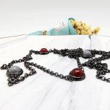 Стальной позолоченный долго ожерелье с красочными валики камня для женщин