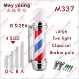 Il barbiere fornisce il segno antico girante in bianco e nero Palo del barbiere dell'indicatore luminoso del salone