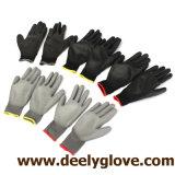 Безшовные перчатки полиэфира Knit с черной перчаткой PU Coated