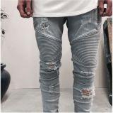 Il nuovo denim degli uomini dei jeans del motociclista di sguardo ha lavato i jeans dei jeans del motociclista della lavata di tecniche
