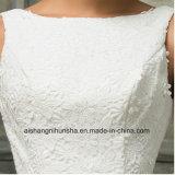 Vestido formal do Applique traseiro Sleeveless elegante do Assoalho-Comprimento do vestido de casamento