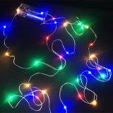 Indicatore luminoso bianco caldo a pile della stringa alimentato 2AA del collegare di rame degli indicatori luminosi leggiadramente LED del contenitore di batteria