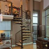 Diseño de la escalera interior de la escalera de caracol de madera hecho personalizado