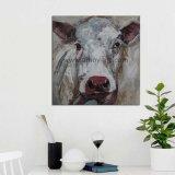 Pintado a mano arte de la granja de animales la vaca negra pinturas al óleo para la reventa