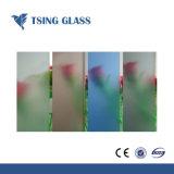 Le verre trempé de couleur claire dépoli avec bords polis les trous des encoches de la charnière