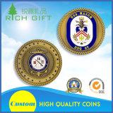 Подгонянная серебряная монетка кольца сувенира возможности сплава цинка с логосом эмали
