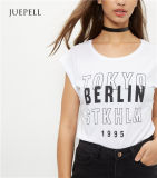 Camisa branca das mulheres T do algodão da luva do rolo