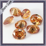 Oval Shaped Diamond Cut Cubic Zirconia Gemstone