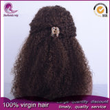 Curly afro peruano el pelo de color marrón Virgen pleno encaje peluca