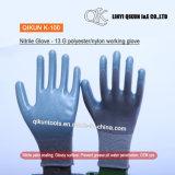 K-98 13ゲージポリエステルナイロン綿のニトリルの上塗を施してある安全働く手袋