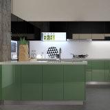 4つの端のキャビネットの緑のラッカー食器棚(OP15-L11)