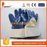 Nitrile dell'azzurro di Ddsafety 2017 ricoperto sui guanti della fodera della Jersey della barretta e della palma