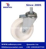 Roda branca plástica do rodízio da haste de 2.5 polegadas