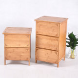 Criativo Bamboo Drawer Bedside Cabinet Lockers Home Furniture