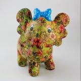 Venda Por Atacado Beautiful Elephant Ceramic Saving Bank with Flower Design