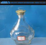 Frasco de vinho de vidro redondo do ombro liso com tampão de parafuso