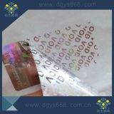 Texto personalizado etiqueta holográfica inviolável