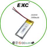 Батарея полимера батареи 3.7V 1000mAh Li-иона батареи 102050 толщины