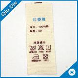 Escrituras de la etiqueta de cuidado modificadas para requisitos particulares del doblez de centro de la marca de fábrica que se lavan para la ropa